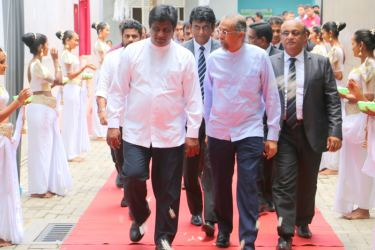 State Minister Ajith P Perera arriving at the ceremony. Picture by Siripala Halwala
