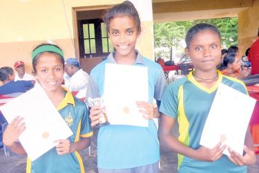 Kalutara Zonal Level Athletic Competitions 2018 Winners of the Under 14 girls long jump event. Champion H. Naleema Lahiruni De Soyza Lyceum International School - Panadura (in the middle), runner-up W. Harini Adithya Fernando (Good Shepherd Convent), (on left) 3rd place K.P. Hiruni (Kalutara Balika National School).   (on right). Pictures by H.L. Sunil Shantha, Kalutara Central Special Corr.