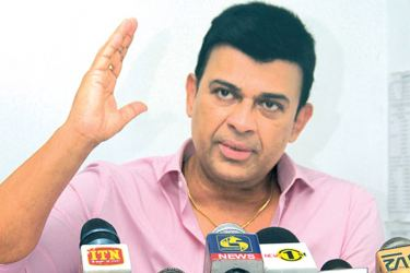Deputy Minister of Social Empowerment and Welfare Ranjan Ramanayake addressing a press conference at Parliamentary quarters, Madiwala yesterday. Picture by Saliya Rupasinghe