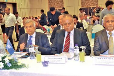 The Information and Communication Technology Conference organised by the National Exporters' Association was held under the patronage of Prime Minister Ranil Wickremesinghe, at the Galadari Hotel, Colombo, yesterday. Association President Ramal Jasinghe, Vice President Ramya Weerakoon, General Secretary Shiham Marikar, Information and Communication Technology Agency Chairman Prof. Rohan Samarajiva, and IronOne Technologies and BoardPAC Executive Officer Lakmini Wijesundera were also present on the occasion.