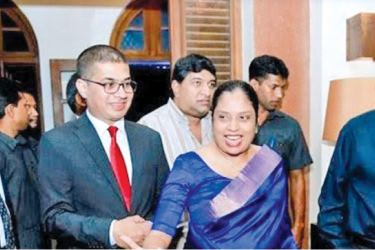 Prime Minister Ranil Wickremesinghe with IronOne  Technologies CEO, Lakmini Wijesundera and ATrad CEO, Rajitha  Kuruppumulle at the celebratory event hosted by ATrad for leading stock  broking firms