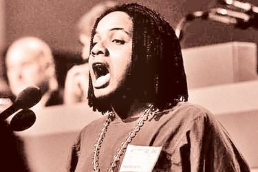 Diane Abbott speaking at the 1985 Labour party conference during the debate on the miners' strike