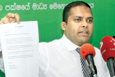 Minister Harin Fernando speaks at the media conference at Sirikotha yesterday. Picture by Roshan Pitipana