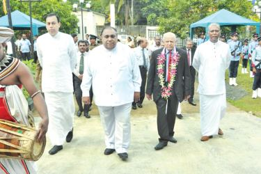 Southern Province Governor  Marshal Perera, Southern Province Chief Minister Shan Wijayalal De Silva along with Council Chairman Somawansa Kodagoda, Opposition Leader and others arriving at the council. Picture by Mahinda P. Liyanage