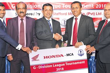 Charaka Perera, Director/Chief Operations Officer from Stafford Motor Company (Pvt) Ltd.,(2nd from right) handing over the sponsorship package to the President of the MCA, Roshan Iddamalgoda, (03 rd from left). Others in the picture from left to right: Tarinda Kaluperuma, Secretary Tournament Committee, Nalin Wickremasinghe, General Secretary (both from MCA) and Damitha Jayasundara , General Manager, Stafford Motor Company (Pvt) Ltd.