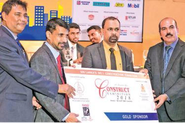 Ruwan De Silva, Chairman, Construct 2018 organizing committee, Athula Priyantha Galagoda, Chairman, National Construction Association of Sri Lanka, Susantha Liyanaarachchi, 1st Vice Chairman – National Construction Association of Sri Lanka/Deputy Chairman, Organizing Committee, Priyantha Jayasinghe, Group Marketing Manager of Rhino Roofing Products Ltd