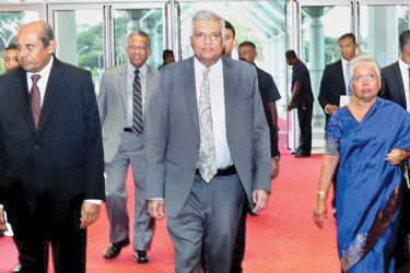 Prime Minister Ranil Wickremesinghe arriving at the convocation ceremony for the Bandaranaike International Diplomatic Training Institute held at BMICH recently,