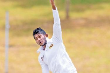 Kamindu Mendis who took four wickets for Sri Lanka Emerging against South Africa Emerging on the first day of the second unofficial test at Hambantota.