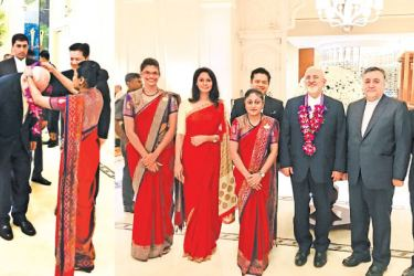 From left : Natasha – Guest Relations, Sales Manager  Ruwani Bandaranayake, Hotel Manager  Mohan Pulkesin, Niranjali – Guest Relations, Iranian Foreign Minister Dr. Mohammad Javad Zarif and Director Accommodations Jitendra Chand.