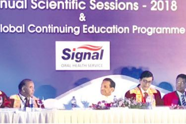 Officials of SLDA and Unilever Ceylon Limited with Minister of Health, Nutrition and Indigenous Medicine Rajitha Senaratne and Deputy Minister Faizal Cassim at the Annual Scientific Sessions.