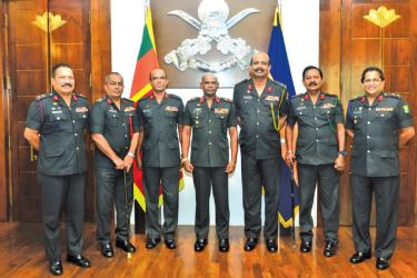 The newly appointed Major Generals with Army Commander Lieutenant General Mahesh Senanayake.