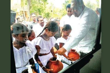 Minister of Finance and Mass Media, Mangala Samaraweera officially opening the Nano Technology Water Purification Plant in Polonnaruwa