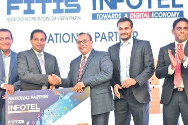 ICTA making a token presentation as the National Partner of INFOTEL–2018. Lal Dias, Board Director, ICTA, Damith Hettihewa, CEO, ICTA, Dr. Kithsiri Manchanayake, Chairman, FITIS, Abbas Kamrudeen, Vice Chairman, FITIS, Wellington Perera, Chairman, INFOTEL 2018 Main Organizing Committee