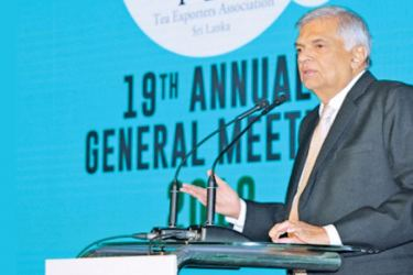 Prime Minister Ranil Wickremesinghe addresses the gathering