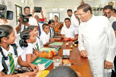 President Maithripala Sirisena in a chat with the students.