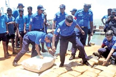 The Navy personnel with the parcels of cannabis.