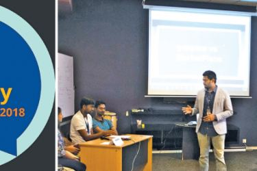 Pearson Lanka conducting a workshop for lecturers and undergraduates.