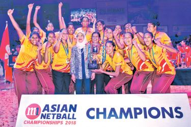 Sri Lanka champions of Asia after winning the Asian Netball Championships in Singapore.