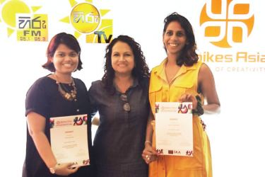 The Burson Young Spikes winners in the PR Category for Sri Lanka, Chanchala Gunewardena and Maheshi Dunuwilage, with the Agency's COO, Sheron Jayasundara.