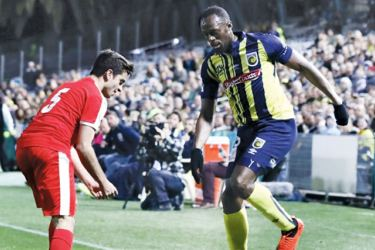 Olympic sprinter Usain Bolt played on the left wing in his first appearance for Australia's Central Coast Mariners. AFP