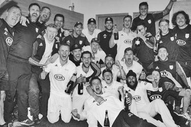Surrey celebrate winning the County Championship title - sealed by their nine successive victories.