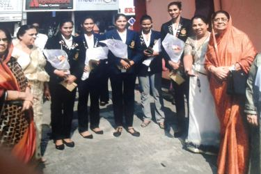 Champion netballers and officials at the felicitation
