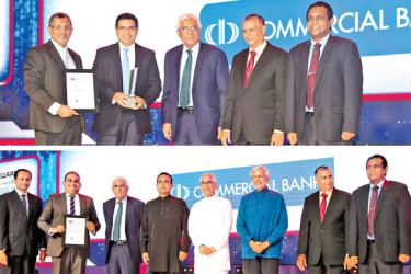 Commercial Bank's Chief Operating Officer, Sanath Manatunge (above, second left) and the Bank's Deputy General Manager, Marketing, Hasrath Munasinghe (below, second left) accepting two of the five awards won by the Bank at the LankaPayTechnovation Awards