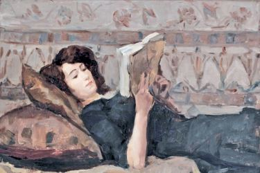 Reading woman on a couch by Isaac Israels