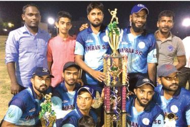 Victorious Imran Sports Club of Nintavur team with the trophies