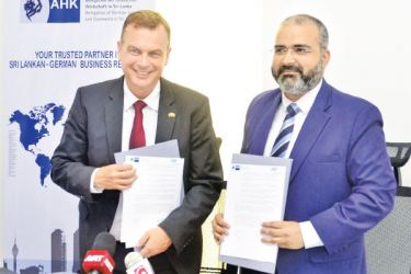 Chief  Delegate of AHK Sri Lanka, Andreas Hergenröther and  Chief Executive Officer of Messe München India Pvt.Ltd, Bhupinder Singh. Picture Vipula  Amarasinghe