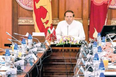 President Maithripala Sirisena chaired the National Economic Council (NEC) yesterday, to discuss the current status of the country's economy. Prime Minister Ranil Wickremesinghe, Ministers Mangala Samaraweera and Mahinda Samarasinghe, State Ministers Dr. Harsha de Silva and Eran Wickremaratne, Secretary to the President Udaya R Seneviratne and Central Bank Governor Dr Indrajith Coomaraswamy attended the meeting. Picture by Chandana Perera