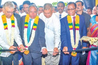 Minister Lakshman Kiriella, BOC Chairman, President's Counsel, Ronald C. Perera, General Manager, Senarath Bandara, Deputy General Manager Sales and Channel Management, C. Amarasinghe, Deputy General Manager, Retail Banking Range I &II, D.M.L.B. Dassanayake, Assistant General Manager, Eastern Province, D.M.K.S. Dissanayake, Assistant General Manager, Support Services, B. Nanthakumar, Assistant General Manager, Marketing, P.P.M Wijesekera, Operations Manager, W.M.U. Attanapola at the event. Pictures by, M. A