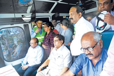 Minister Nimal Siripala De Silva along with ministerial and railway department officials take part in the inspection tour.