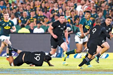 South Africa's Damian Willemse runs with the ball during the Rugby Championship match against New Zealand at the Loftus Versfeld stadium in Pretoria, on Saturday. – AFP