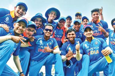 India under 19 cricketers celebrate their win over Sri Lanka in the Asia Cup under 19 final at Dhaka.