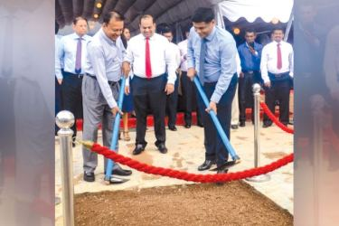Access Group Chairman Sumal Perera and Managing Director of Access Residencies Theo Fernando at the groundbreaking ceremony.