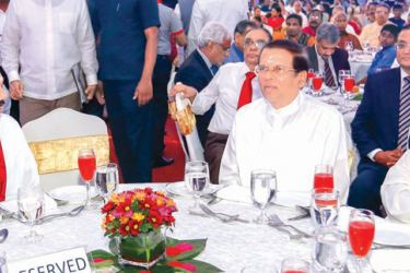 President Maithripala Sirisena, Prime Minister Mahinda Rajapaksa and Opposition Leader R. Sampanthan at the Deepavali festival. Picture by President's Media.
