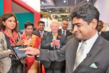 Minister Senanayake and Lord Naseby with other officials at the WTM opening in London