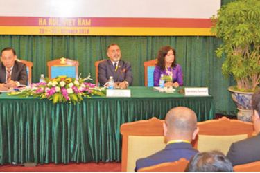 Vietnam's Labour, Invalids and Social Affairs Minister Dao Ngoc Dung, who was the guest of honour speaks at the inauguration.