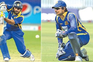 Sangakkara playing one of his exquisite cover drives