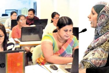 Thasneem Niyas  addressing the participants at the training workshop.