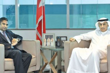 Minister of Industry, Commerce and Tourism of the Kingdom of Bahrain, Zayed bin Rashid Alzayani, discussing and broaching issues of significance, interest and importance with the Ambassador of Sri Lanka, Dr. A. Saj U. Mendis at the Ministry in Manama, Kingdom of Bahrain