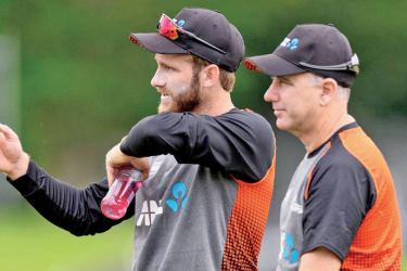 New Zealand captain Kane Williamson and coach Gary Stead.