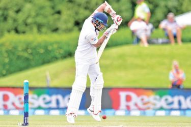 Dinesh Chandimal batting against New Zealand in the second innings of the Christchurch Test where he made a patient half century.