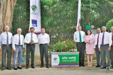 Members of the LOLC Green Sustainability Committee comprising of the Group's Senior Managers pose for a photograph at the LOLC Head Office premises following the launch of the LOLC Green Flower troughs project on January 1st 2019.