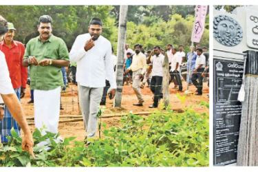 Minister Sajith Premadasa inspects a home garden in the model village.-Minister Sajith Premadasa opens the 144th model village.