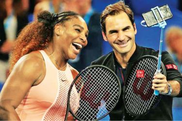 Serena Williams and Roger Federer take a selfie after their historic clash.