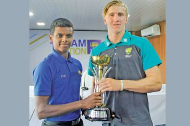 The two rival under 19 captains Nipun Dananjaya (Sri Lanka) and Will Sutherland (Australia). Picture by Roshan Pitipana