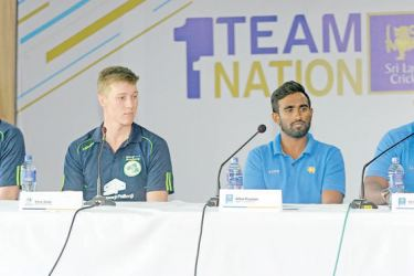 Avishka Gunawardene Sri Lankan 'A' team coach (right) addressing the media at the SLC headquarters. Ireland 'A' team coach Peter Johnston, Ireland 'A' captain Harry Tector and Sri Lanka 'A' captain Ashan Priyanjan are also present.