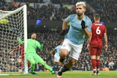 Sergio Aguero blasted Man City into a first-half lead. AFP